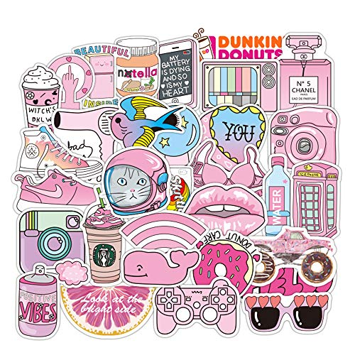 Pink Vsco Stickers for Water Bottles, 50 Pack Funny Cute Waterproof Laptop Stickers, Trendy Aesthetic Stickers for Guitar, Laptop, Luggage, Skateboard, Stickers for Kids,Girls,Teens,Adults