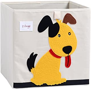 DODYMPS Foldable Animal Canvas Storage Toy Box/Bin/Cube/Chest/Basket/Organizer for Kids, 13 inch (Dog)