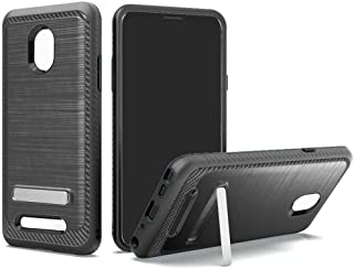 Slim Armor Case for FOXXD Miro L590 Foxx (MetroPCS) Brush Metal Finish Heavy Duty Dual Layer Full Body Shock Impact Protection with Viewing Magnetic Kickstand
