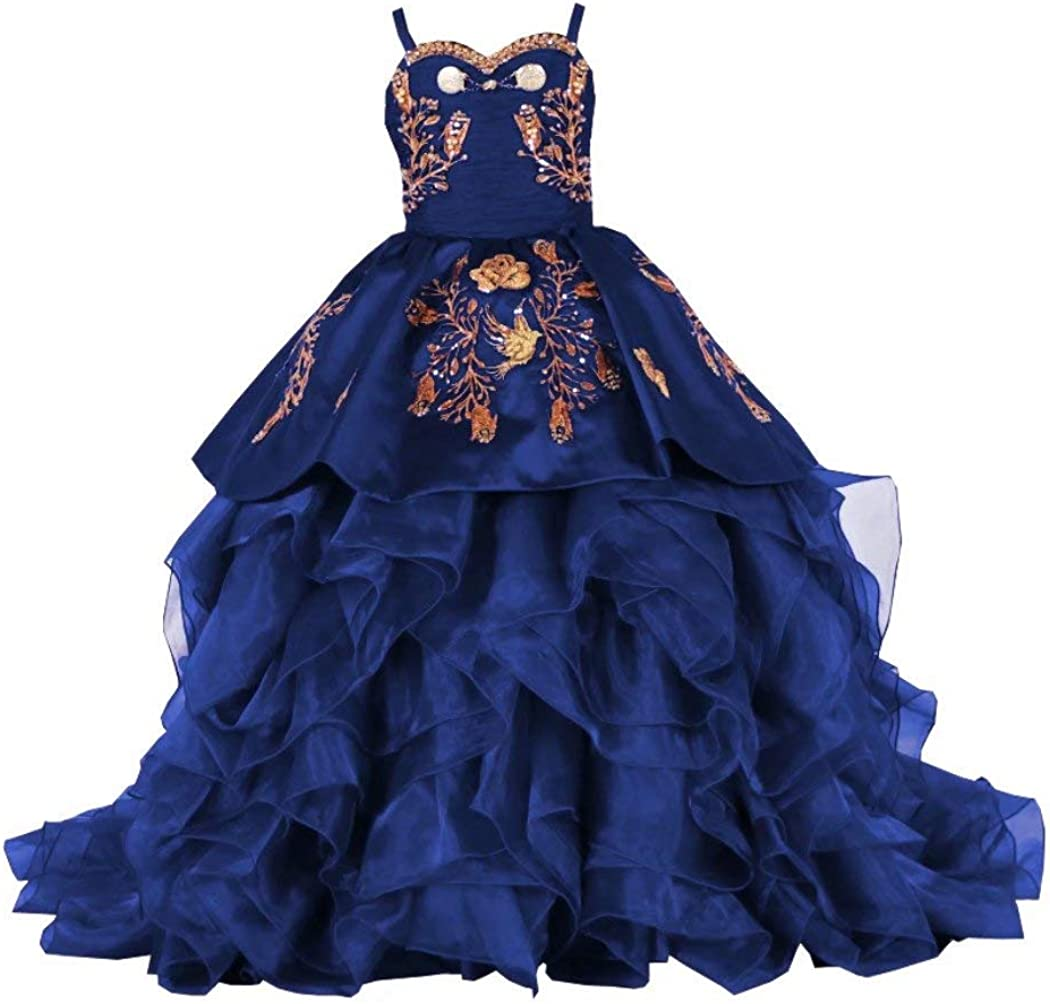 Stunning Gold Embroidery 2021 Ball Gown Ruffles Little Girls Pageant Prom Formal Dresses for Girls Satin with Straps