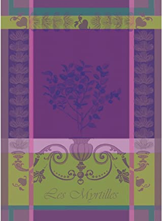 Garnier Thiebaut, Myrtilles Violet, (Blueberries), Woven French Kitchen Towel, 100
