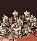 27 Pieces Turkish Greek Coffee Espresso Set for Serving - Porcelain Cups with Tray and Sau...