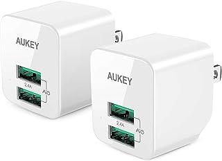 【2個セット】AUKEY USB充電器 ACアダプター 2ポート 超小型 折りたたみ式 軽量 コンパクト スマホ充電器 AiPower機能搭載 iPhone X / iPhone 8 / iPhone 7 / 7 Plus / iPhone6s...