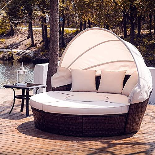 VONLUCE 5 Piezas Tumbona de Cama de Ratán para Jardín Sofá Cama con una Una Mesa Redonda, Cojínes y Almohadas Cama Modular Exterior con Toldo Ajustable