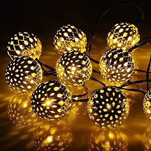 Luces de cadena solar DIRIGIÓ Luces de cadena solar 16ft 20 LED 8 Modos DIRIGIÓ Luces de cadena de hadas Linterna con energía solar para camping al aire libre, jardín, patio, fiesta, decoración del ho