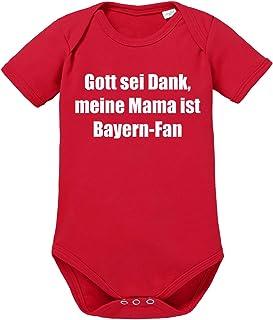 clothinx Gott sei Dank Meine Mama ist Bayern Fan | Lustiges Stadt und Fußballmotiv | Das ist Nachwuchsförderung auf bayrisch | Fußball ist unser Leben Baby-Body aus 100% Bio Baumwolle
