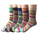 Loritta 5 Pairs Womens Vintage Style Winter Warm Thick Knit Wool Cozy Crew Socks, H-ethnic Style, Free size,One Size,Multicolor