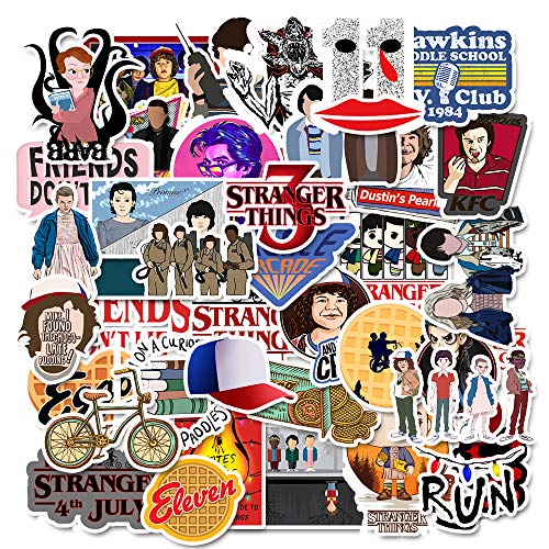 Stranger Things Stickers Pack(75 Pcs) Laptop and Water Bottle Decal Waterproof Vinyl Stickers for Teens, Girls, Women Skateboard Motorcycle Bicycle Mobile Phone Luggage Guitar DIY Decal