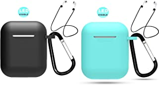 2-Pack Compatible AirPods 1 & 2 USB Wire Charging Case Keychain AirPods 1&2 Staps Accessories Protective Silicone Cover Skin for Apple AirPods1&2 USB Wire Charging Case-Black+Teal