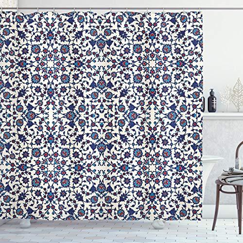 ABAKUHAUS Arabeske Duschvorhang, Marokkanische Oriental, Wasser Blickdicht inkl.12 Ringe Langhaltig Bakterie & Schimmel Resistent, 175 x 200 cm, Creme Indigo Vermilion Blue