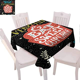 VICWOWONE Printed Square Tablecloth Quote Foldable Forget Everything and Eat Sweet Cupcake Phrase with Doodle Floral Ornaments Print (Square,W50 x L50) Multicolor
