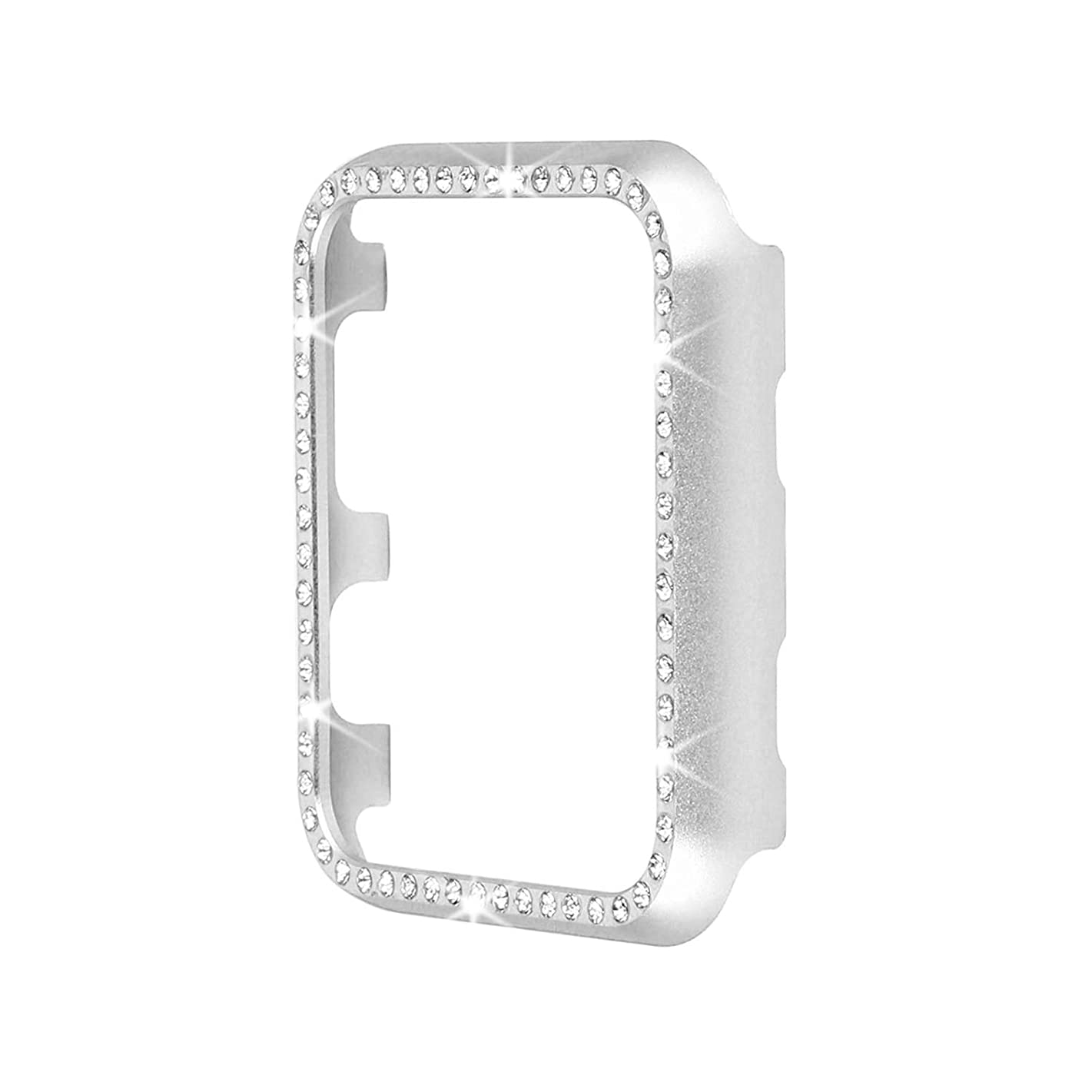 Aluminum Metal Watch Case with Crystal Diamonds Plate Protective Cover Ultra Thin Bumper Compatible for Apple iWatch Series 4 3 2 1_ Best 3D Bling Gift for Your iWatch (Silver Bling, 44mm)