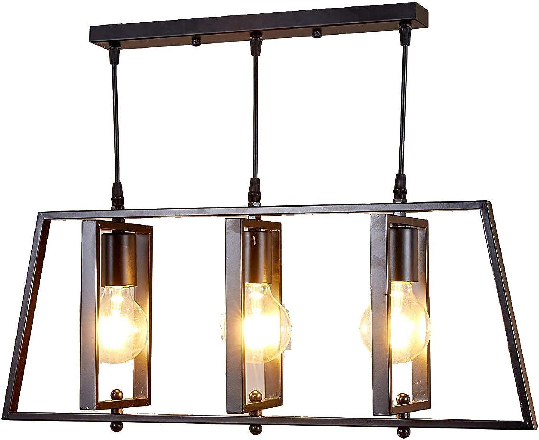 Top Lighting 3-Light Antique Black Metal Frame Island Chandelier Hanging Pendant Ceiling Lamp Fixture