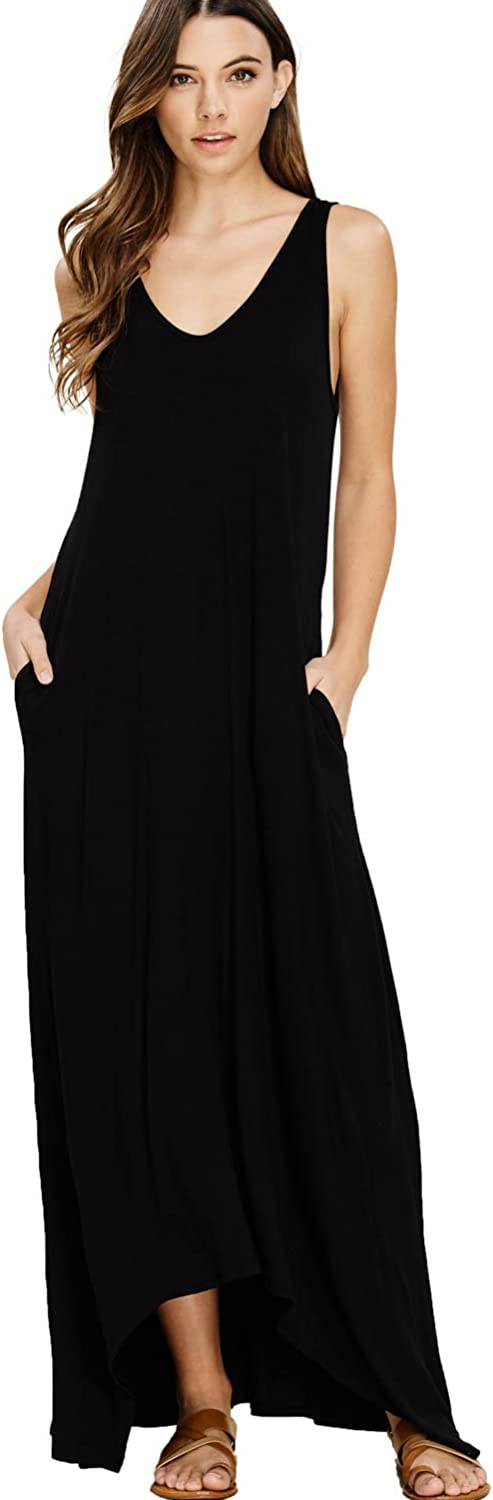 Annabelle Women's Casual V Neck Sleeveless Tank Top Long Maxi Dresses with Pockets
