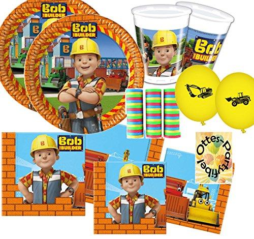 Bob der Baumeister Partyset 63 Teile für 16 Kinder Teller Becher Servietten Luftballons Deko