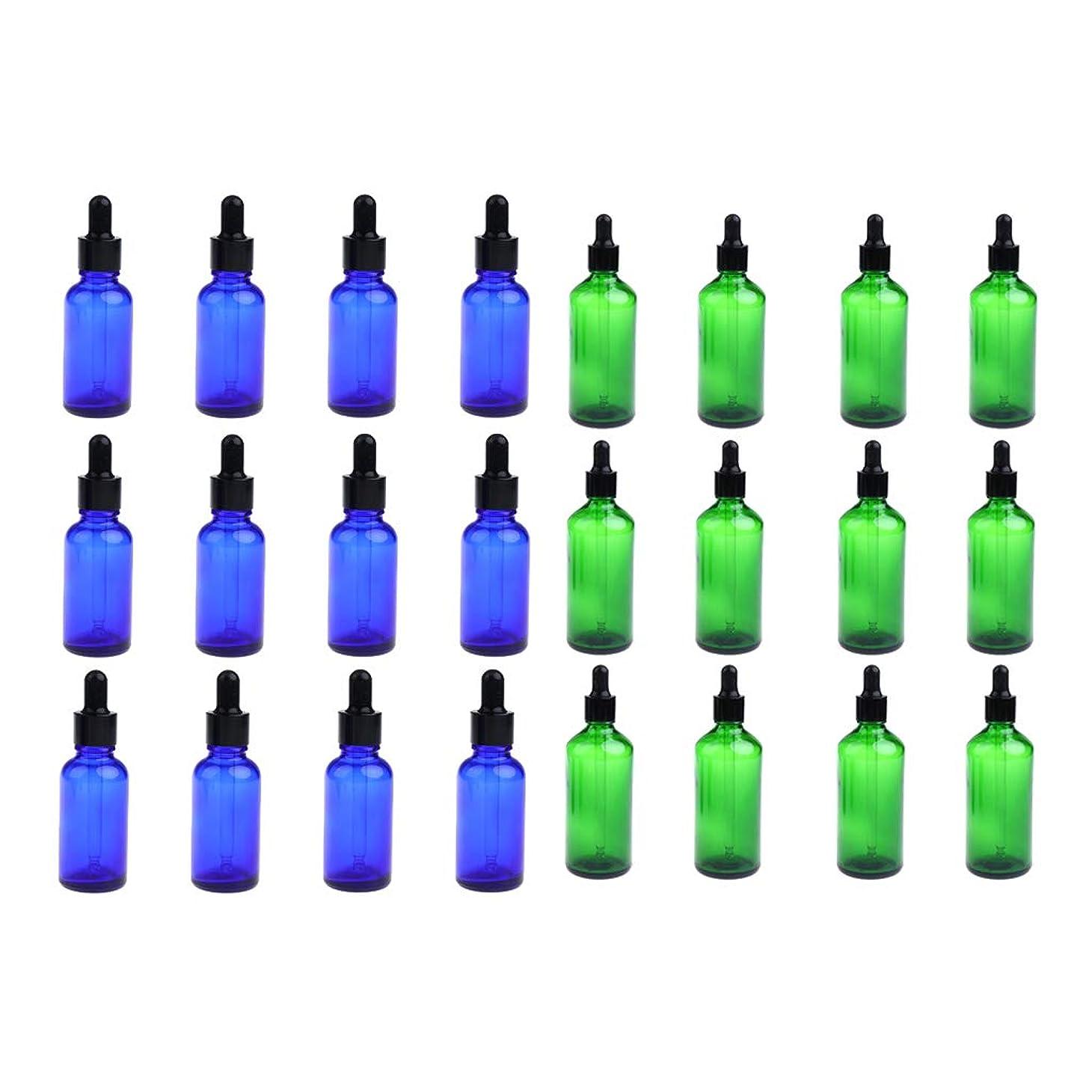 トロイの木馬代数的バトルFLAMEER 24個セット ガラスボトル スポイトボトル 空の瓶 遮光ビン 精油瓶 詰替え 旅行 30ミリ 緑+青