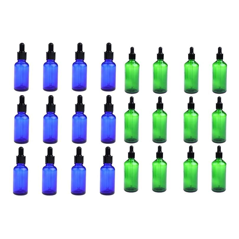衝動辞書手術FLAMEER 24個セット ガラスボトル スポイトボトル 空の瓶 遮光ビン 精油瓶 詰替え 旅行 30ミリ 緑+青