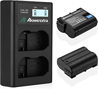 EN-EL15 Powerextra 2 Pack Replacement Batteries and Dual USB Battery Charger with LCD Display for Nikon D7100, D750, D7000...