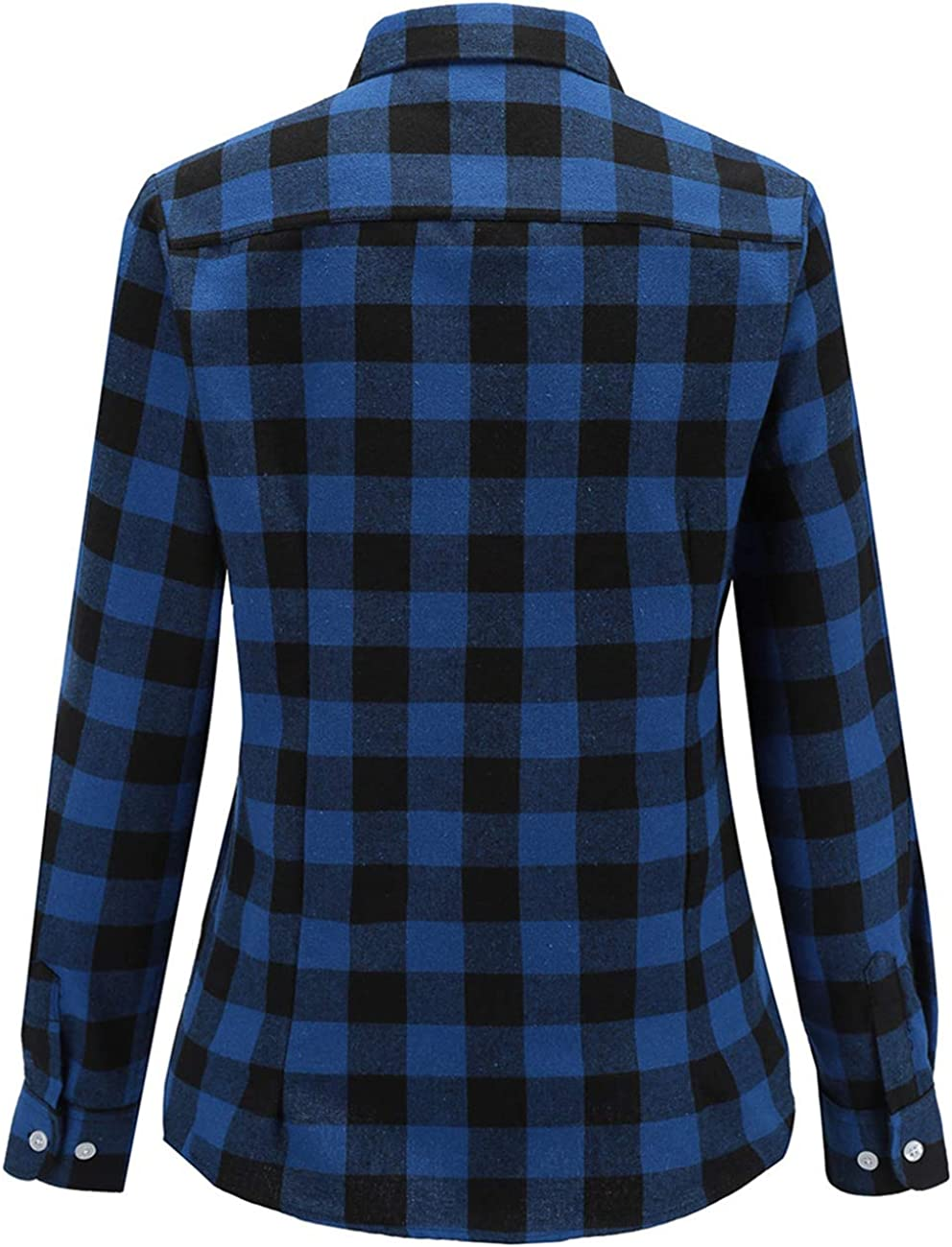 Dioufond Flannel Shirts for Women Long Sleeve Womens Buffalo Plaid Shirt