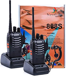 Nestling Rechargeable Long Range Walkie Talkies 2pcs in One Box with Earpieces 16CH Signal Band UHF 400-470MHz Two Way Radios Li-ion Battery Clip and User's Manual Included(2 Pack Radios)