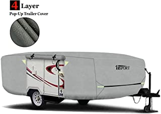 Upgrade Pop-Up Folding Camper Trailer Cover Fit 14'-16' Trailers w/Adjustable Front & Rear, Windproof Buckles & Adhesive Repair Patch