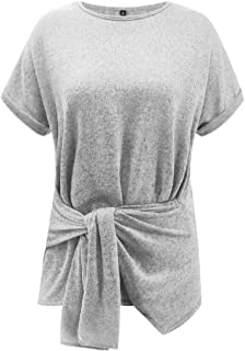 OTW Women Short Sleeve Tie Knot Solid Crewneck Casual Tee Shirts Blouse Top