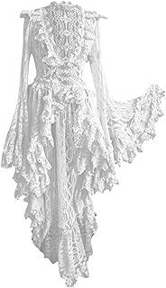Ellymi Medieval Retro Gothic Court Dress Solid Color V-Neck Lace Stitching Vintage Dress Asymmetrical Hem Lace Patchwork Dresses White