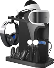 PlayStation Display Charger Stand - ElecGear Vertical Stand, PSVR Headset Holder, Quad Charging Dock for DualShock & PS Move Motion Controller, 4-Port USB Hub, Cooling Fan Cooler for PS4, Slim, Pro
