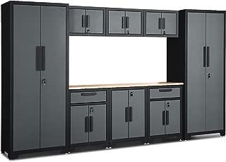 Goplus 9-Piece Garage Storage Cabinet Sets w/Rubber Wood Worktop, 24 Gauge Lockers and Shelves Tool Organizer