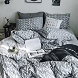HIGHBUY Geometric Chevron Bedding Sets Queen Comforter Cover Set Lightweight Cotton Duvet Cover Stripe Pattern Full Bedding Sets Gray with Zipper Ties3 Pieces Kids Bedding Sets