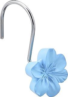 AmazonBasics Shower Curtain Hooks - Flower, Light Blue