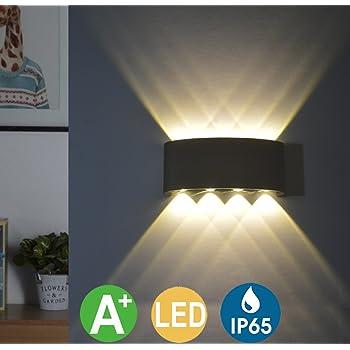 Lightess Applique Murale LED Int/érieur 16W Lampe Murale IP65 /Étanche Applique Luminaire En Aluminium Up Down pour Chambre Maison Couloir Salon Escalier balcon v/éranda Noir Blanc Chaud