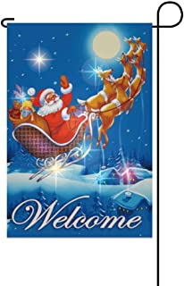 Rama Rose LED Lights Garden Flag for Christmas, Santa Claus Deers Fly in The Night Sky, Winter Holiday Welcome House Yard Flag, Funny Festival Decorations, 12 x 18 inch