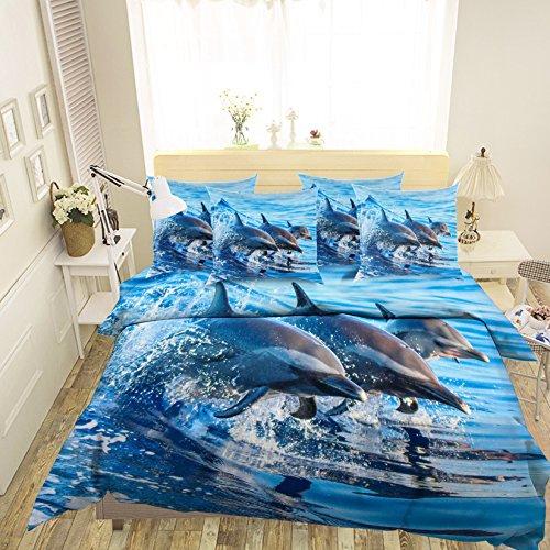 Parure de lit 3D avec housse de couette et taies d'oreiller Motif dauphin de mer Bleu Taille simple King Size