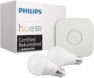 Philips Hue White Ambiance Smart Bulb Kit (Compatible with Alexa Apple HomeKit and Google Assistant) (Renewed) (Two Bulbs + Bridge)