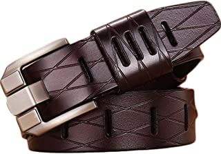 Men's Genuine Leather Leather Belt High-end Wide Pin Buckle Business Casual Jeans Belt Long 125 cm (Color : Coffee)