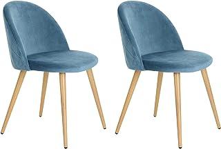 Muele Cosy Zomba Diamond Blue - Juego de 2 sillas para Comedor Confort Plus de Terciopelo con Patas de Metal Estilo Madera y Azul, 49 x 53 x 77,5 cm