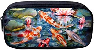 Oxford Cloth Cosmetic Pencil Bag Pen Case, Pretty Koi Fish Students Stationery Pouch Zipper Bag for School Supplies, Gadgets