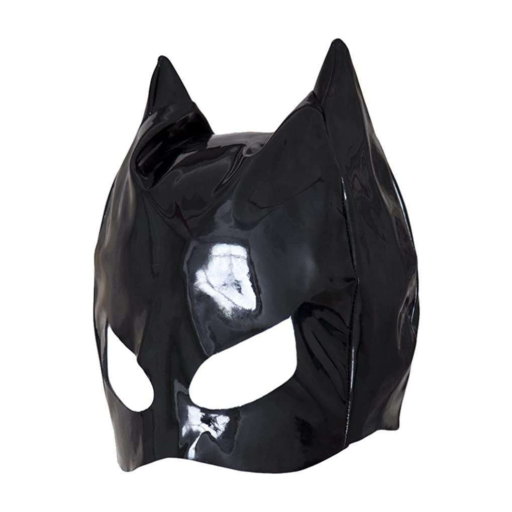 あからさまフォーラム削るHealifty 全頭マスク フェイスカバー オープンアイズ PUレザーフード コスプレ 衣装帽子 ユニセックス (ブラック)