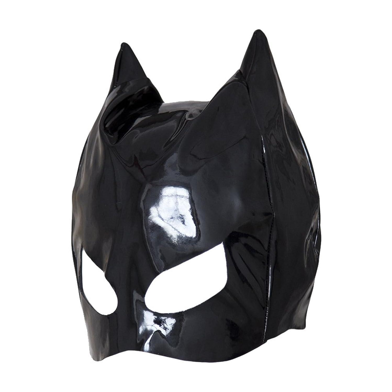 逮捕義務的バンHealifty 全頭マスク フェイスカバー オープンアイズ PUレザーフード コスプレ 衣装帽子 ユニセックス (ブラック)