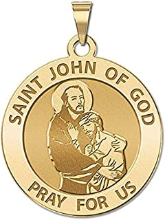 PicturesOnGold.com Saint John of GOD Religious Medal - 1 Inch Size of a Quarter -Solid 14K Yellow Gold