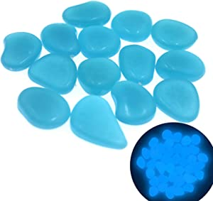 QTTLLI 450Pcs Glow Pebbles Glow in The Dark Decorative Stones Rocks for Garden Path Walkway Yard Fish Tank, Blue