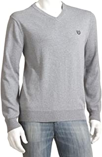 Mens Classic Fit Cashmere Blend V-Neck Sweater Light Gray