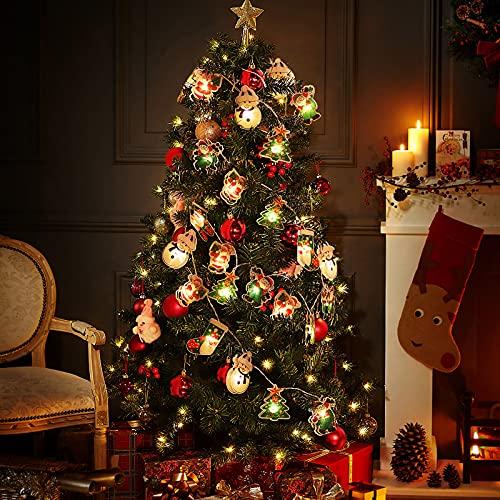 BLOOMWIN Catena Luminosa Luci Natalizie 2,5 m con Telecomando 8 Modalità 20 LEDs DIY Babbo Natale Pupazzo di Neve Luci Devorazioni Natalizie per Festa Camera Negozio Camino