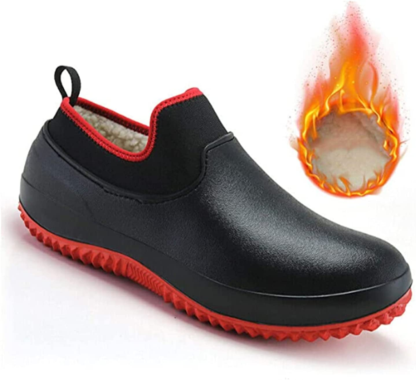 MTDBAOD Non-Slip Chef Shoes, Winter Fur Lined Warm Shoes,Men Women Waterproof Work Clogs Oil Resistant Safety Chef Shoes Garden Shoes (41,Red)