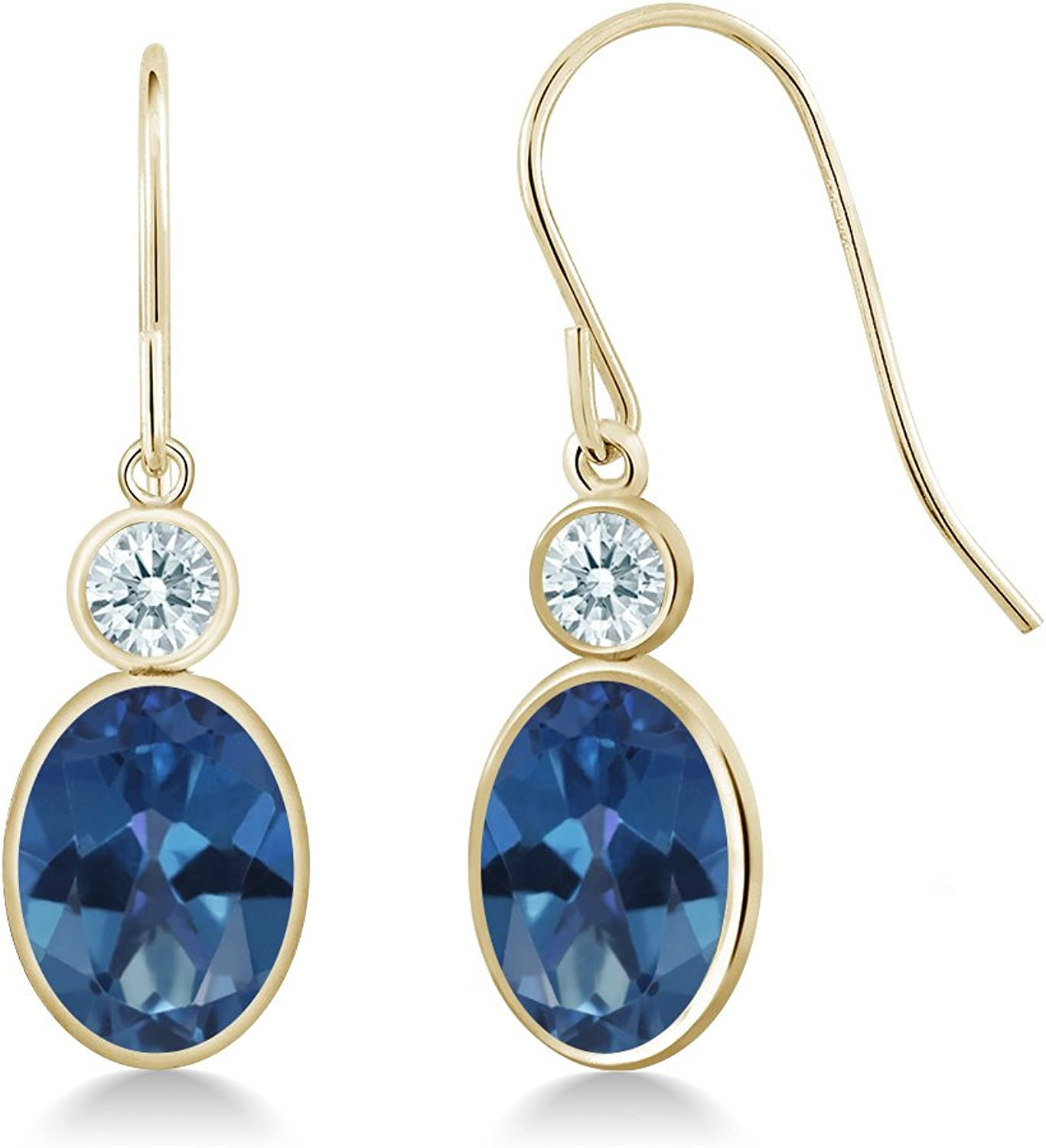 2.82 Ct Sapphire bluee 14K Yellow gold Earrings Made With Swarovski Zirconia