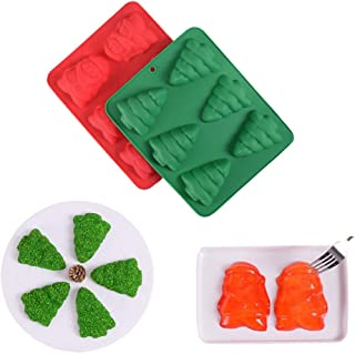 ESA Supplies 6 Cavity Christmas Tree and Santa Claus Silicone Soap Molds and Muffin Cups Jello Chocolate Biscuit Baking Tray Mousse Cake Pudding Dessert Molds for Christmas Holiday