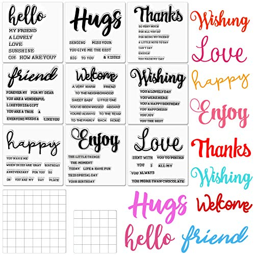 9 Pieces Warm Phrases Clear Stamps Hello Hugs Thanks Love Clear Crafts Stamps and 2 Pieces Acrylic Stamp Blocks Tools with Grid Lines for Card Making Decor DIY Scrapbooking