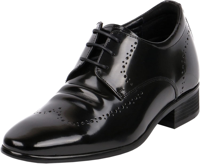 Jota Men shoes Taller Comfy Gentlemen Glossy Leather Wide Dress shoes, 2.8  Tall