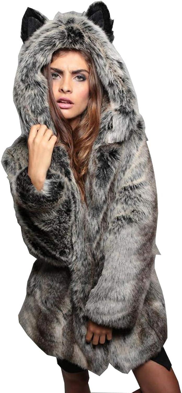 Huaishu Women's Warm Fluffy Coat Long Sleeved Jacket Autumn Winter Outerwear Grey